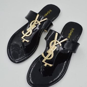 YSL Fashion Slippers Women Leisure Flat Sandal Slipper Shoes Black