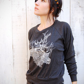 Brother(s) Caribou - deer caribou antlers womens long sleeve raglan pullover - by Bark Decor