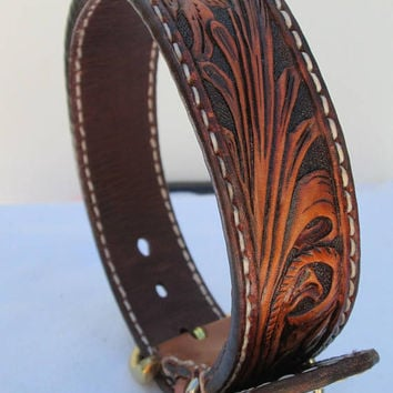 Handmade custom dog collars, tooled collars, tooled leather, pet collars, Boxer, Border Collies, Doberman Pinscher collar
