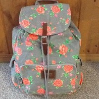 Adorable Victoria's Secret Vs Pink Grey Gray Floral Backpack Brand New!