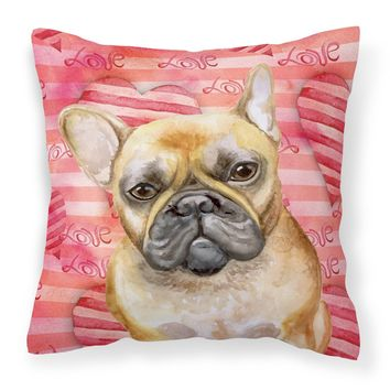 French Bulldog Love Fabric Decorative Pillow BB9775PW1414