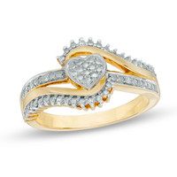 Diamond Accent Shadow Heart Bypass Promise Ring in Sterling Silver and 10K Gold Plate