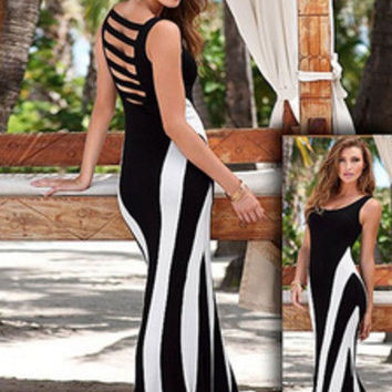 Black and White Strappy Back Sleeveless Maxi Dress