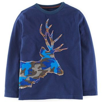 Boy's Mini Boden 'Winter Animal Applique' Long Sleeve T-Shirt,