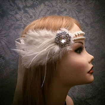 20s style Ivory White Art Deco Era Gatsby Ostrich Feather flapper Headband Wrap Head Piece 1920s rhinestone silver 1920s roaring