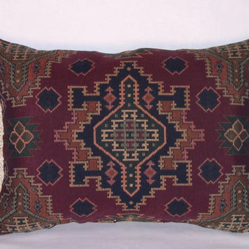 Southwest Wine Red Throw Pillow Ready Ship Carpet Fringe Insert and Cover Oblong  14x20""