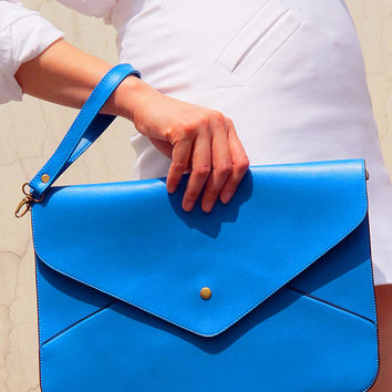 Oversize Vegan Leather Envelope Clutch - Blue Purse Bag Handbag - Women Ladies - Handmade