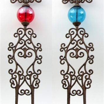 Cast Iron Garden Stakes Set of 2 Red & Blue Glass