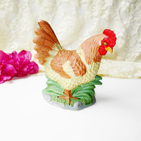 Chicken Hen Figure Figurine Vintage Bisque Ceramic Brown Yellow Farm Kitchen Cabin Home Decor Farm Animal Bird Statue