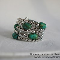 Turquoise Ring, Blue, Green, Adjustable Ring, Spiral Ring, Bohemian Jewelry, South Western Ring, Casual Ring