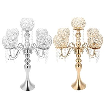 5 arm Crystal Candle Holder Wedding Candelabra Centerpieces Center Table Candlesticks Party Decor Lantern stand Silver/Gold home