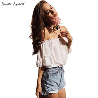 Simplee Apparel Summer 2016 off shoulder ruffles women crop tops Brandy Melville feminine blouse shirt Sexy girls white blusas