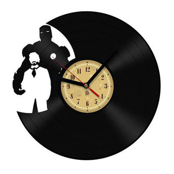 Vinyl Clock - Iron Man. Upcycling product made from vinyl records. Cool gift ideas for music lovers.