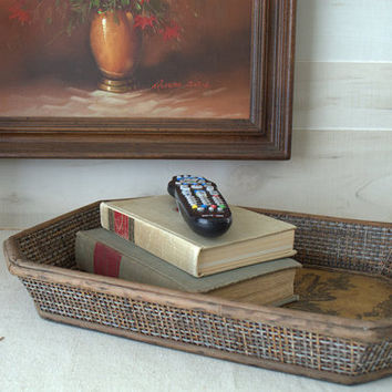 Rustic Wood Serving Tray, Vintage Decorative Wood Tray, Shabby Chic Wooden Tray, Wooden Tray for Ottoman, French Country Decor