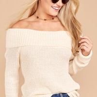 All To Myself Cream Off The Shoulder Sweater