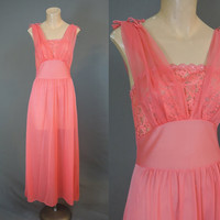 1960s Dark Coral Nightgown, Sheer Lace Bust, 34 bust, Unworn Vintage Nylon Nightgown