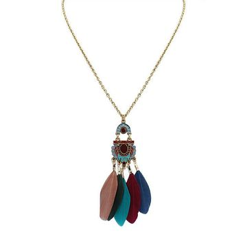 Long Multi Colored Feather Pendant Necklace
