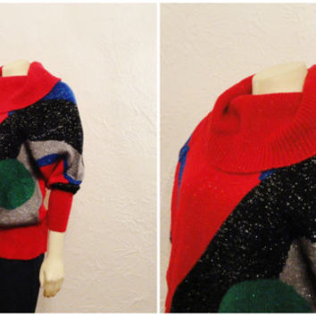 Vintage Sweater 80s Graphic Design Shimmering Metallic Red Green Black Blue Cowl Neck Batwing Arms Modern S M L