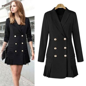 ONETOW Plus Size Women's Fashion Long Sleeve Double Breasted Pleated Jacket [196476764186]