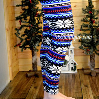 Blue Christmas Leggings