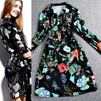 Floral Printed Long Sleeve Button Down Mini Dress