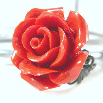 Coral Red Rose Ring Adjustable Black Filigree Statement Ring Fashion Jewelry