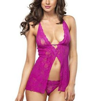 LMFH3W The 2PC. Halter Flyaway Babydoll and G-string in Hot Pink