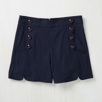 Ripples My Fancy Shorts in Navy | Mod Retro Vintage Shorts | ModCloth.com
