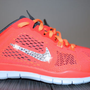 New Women's Nike Free Run 5.0 TR Fit 4 Running Jogging Shoes Customized With Clear Swarovski Crystal Rhinestone Elements Orange & White