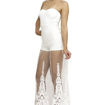 Padded Tube Top Embroidered See Through Mesh Maxi Skort Romper