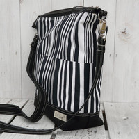 Black White Diaper bag Weekender bag Striped canvas tote bag Messenger bag Totes