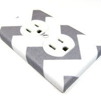 Rb Chevron Gray and White Outlet Cover Electrical by ModernSwitch