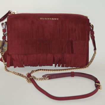 NWT BURBERRY $795 WOMENS FRINGE SUEDE PEYTON WRISTLET BAG