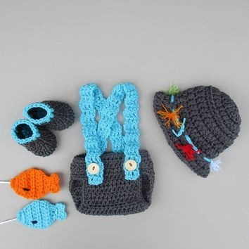 Baby Fisherman Crochet Outfit Charcoal Newborn Photo Prop