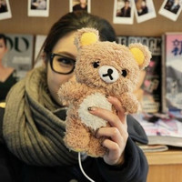 Cartoon Plush idoll 3D Rilakkuma Bear Case for Samsung Galaxy S3 S4 S5 Note 3 4 N9100 for iphone 6 6s 4.7 & 5.5'' Fundas Coque