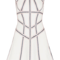 Hervé Léger - Cutout embroidered stretch pointelle-knit mini dress