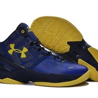 DCCKIJ2 Men's Under Armor Curry TWO ASG Basketball Shoes Blue Yellow