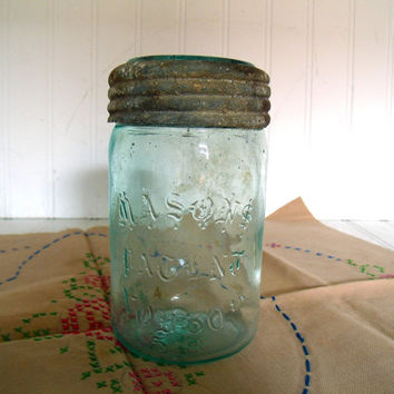 Antique Masons Patent Nov 30th 58 Christmas / German Mason Aqua Glass Pint Fruit Jar - Original 3 Piece Blue Green Glass Lid Zinc Screw Top