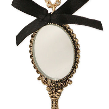 Hand Mirror Charm Necklace