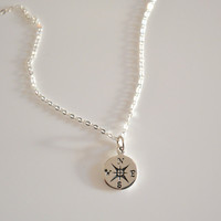 Stering Silver Compass Necklace, Travelers Necklace, Best Friend Gift, Silver Compass,