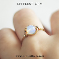 Gold Opal ring - unique rings - custom
