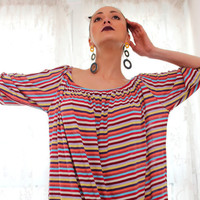 Handmade one size oversized plus size multicolored stripes soft cotton jersy tricot spring summer caftan dress/sundress/boho/everyday dress