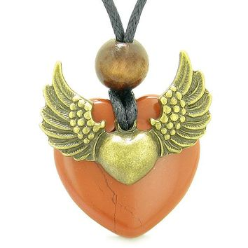 Angel Wings Double Lucky Heart Donut Amulet Magic Powers Red Jasper Pendant Necklace