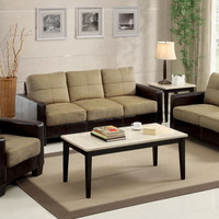 3 pc. laverne i contemporary style dark taupe & espresso microfiber sofa set