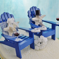 Wedding Cake Topper with Red Wine Glasses ~ Miniature Adirondack Chairs  ~ Knobby Starfish Bride/Groom ~ Beach Wedding ~ More Drink Options