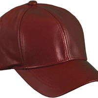 Burgundy Genuine Leather Baseball Cap Hat Made In The USA