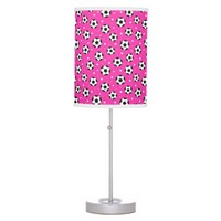 Soccer ball table lamp for kids - hot pink