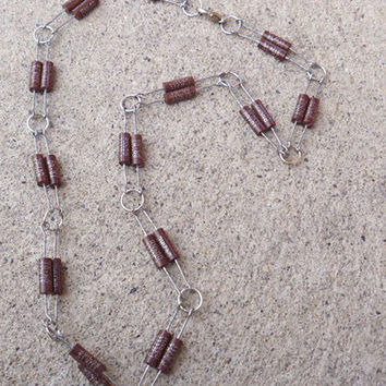 Recycled Computer Part Jewelry  Unisex Double Brown Resistor  Necklace Choker