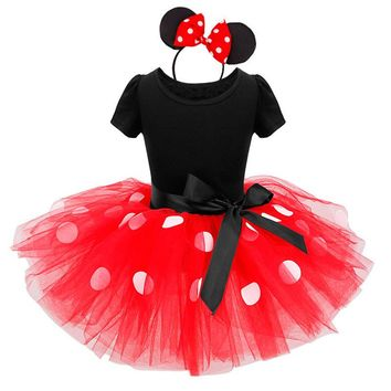 Girls Minnie Mouse Dress Summer Child Cartoon Mouse Tutu Dress Polka Dots Halloween Christmas Girls Dresses Costume D0087