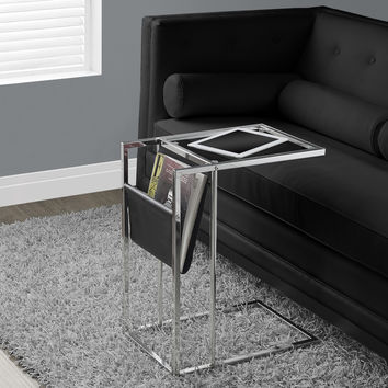 Black / Chrome Metal Accent Table With A Magazine Holder